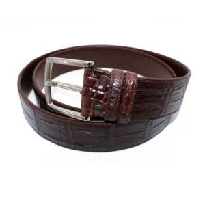 ceinture crocodile boucle fixe marron florence 3