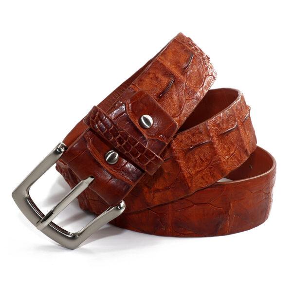 ceinture crocodile marron