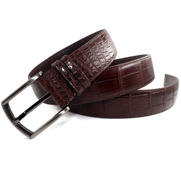 ceinture crocodile marron larges ecailles