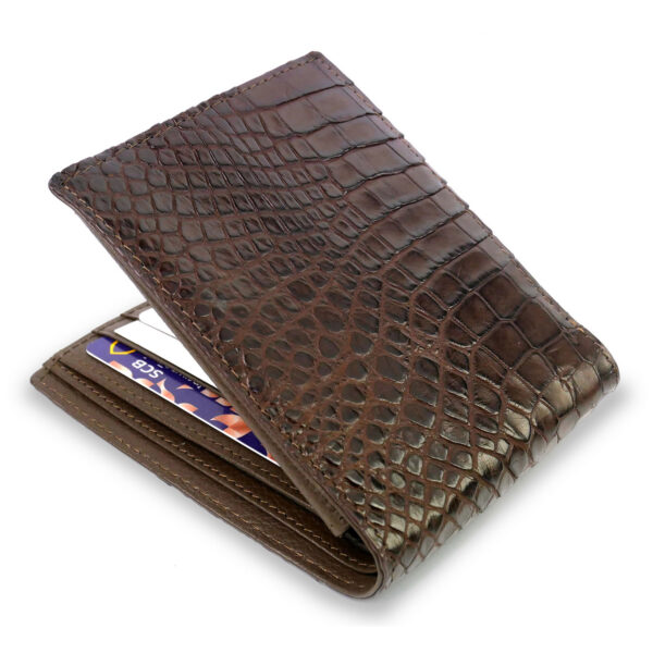 portefeuille crocodile marron xl1 1