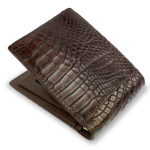 portefeuille crocodile marron xl2 1