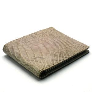 portefeuille crocodile veritable blanc argent mdg 1