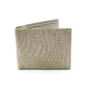 portefeuille crocodile veritable blanc argent mdg 2