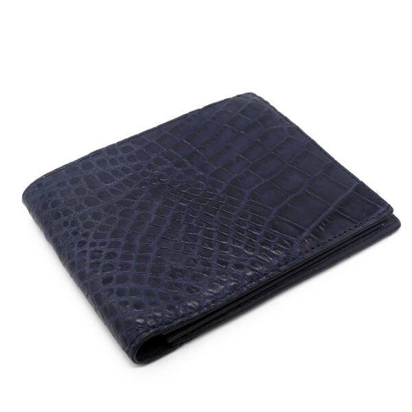 portefeuille crocodile veritable bleu cobalt mdg 1