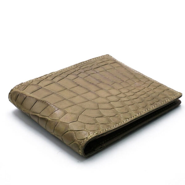 portefeuille crocodile veritable taupe clair mdg 1