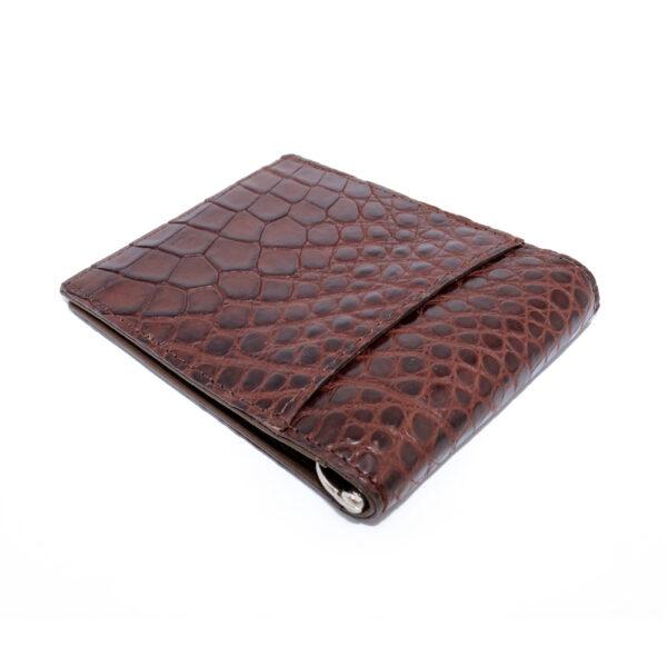 portefeuille money clip crocodile couleur marron 1 1
