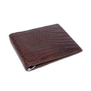 portefeuille money clip crocodile couleur marron 4 1