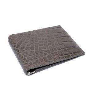 portefeuille money clip crocodile couleur taupe 4 1