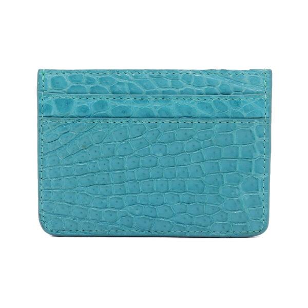 porte cartes crocodile turquoise