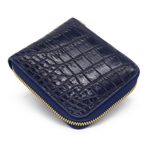 portefeuille crocodile zip navy 1